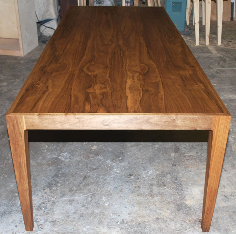 Modern Parsons Table in Solid Bookmatched Walnut, Made to Order by Petersen Antiques For Sale