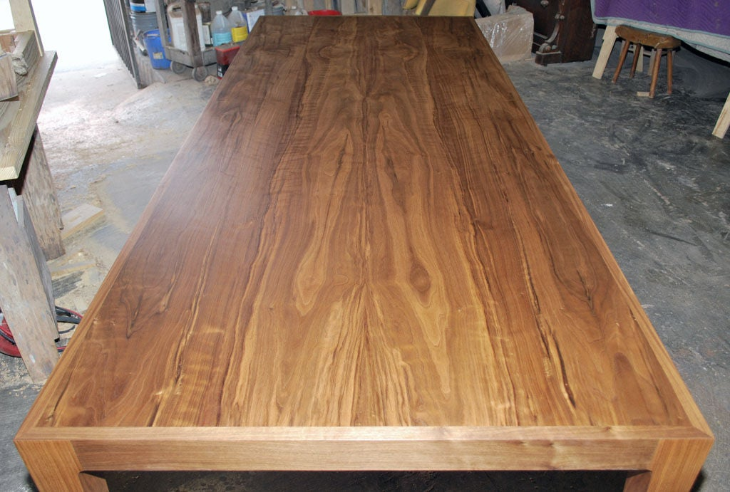 American Parsons Table in Solid Bookmatched Walnut, Made to Order by Petersen Antiques For Sale