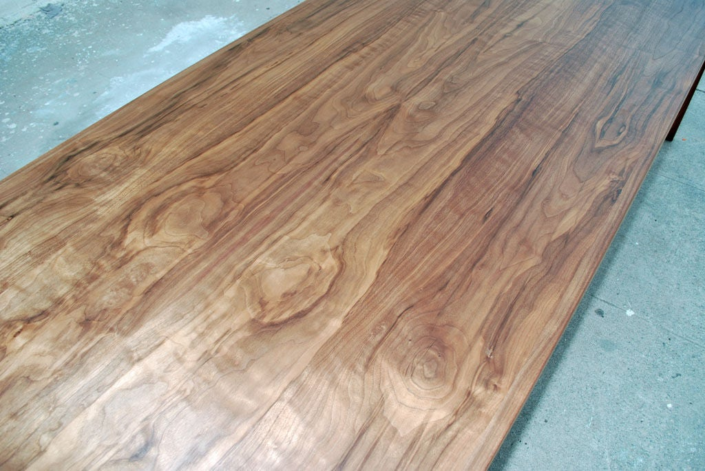 Parsons Table in Solid Bookmatched Walnut, Made to Order by Petersen Antiques In Excellent Condition For Sale In Los Angeles, CA