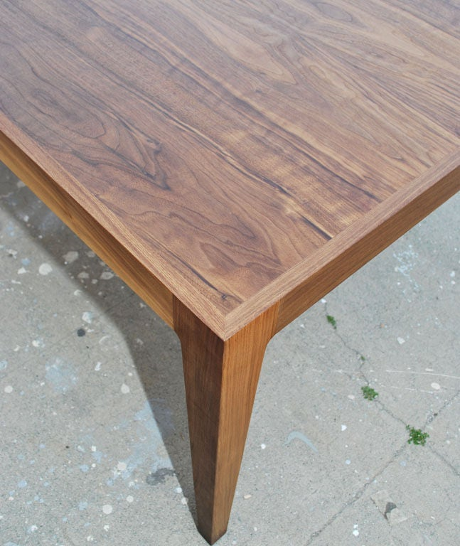 Contemporary Parsons Table in Solid Bookmatched Walnut, Made to Order by Petersen Antiques For Sale
