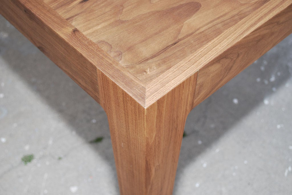 Parsons Table in Solid Bookmatched Walnut, Made to Order by Petersen Antiques For Sale 1