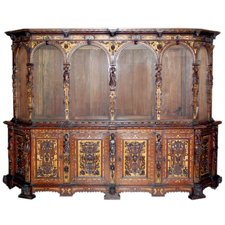 Renaissance Style Vitrine Cabinet