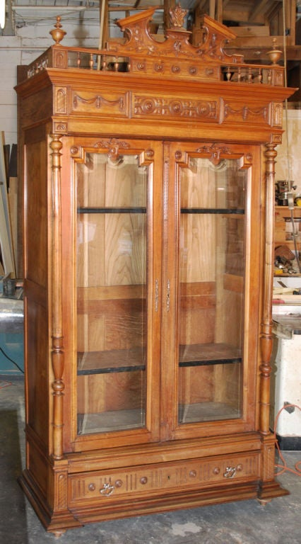 Ornate cherry wood bookcase for sale at stdibs