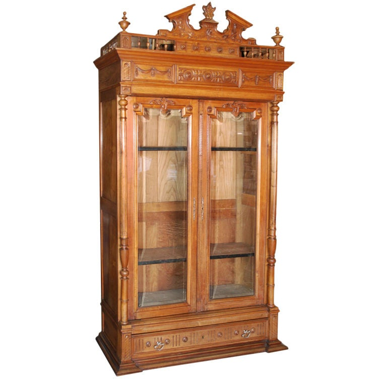 Ornate cherry wood bookcase at stdibs