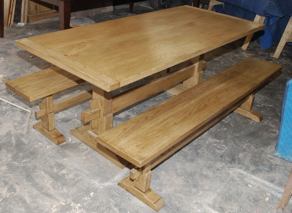 Vintage Oak Expandable Trestle Table 3
