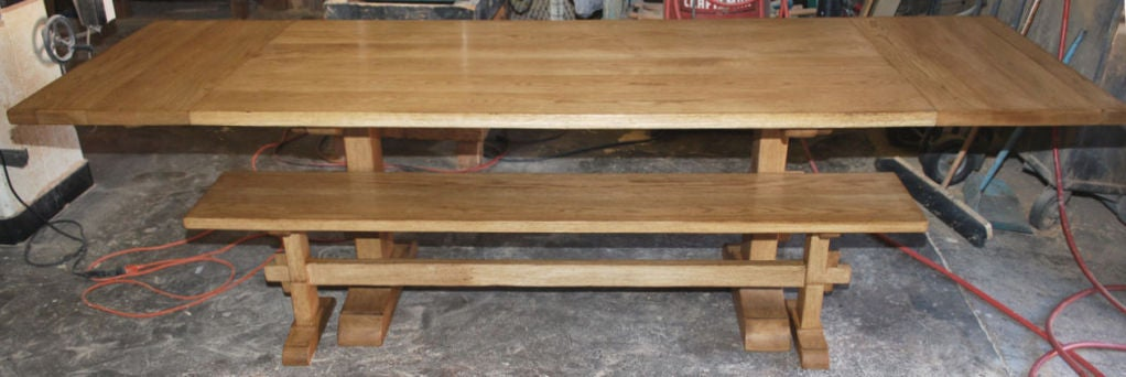 Vintage Oak Expandable Trestle Table 4
