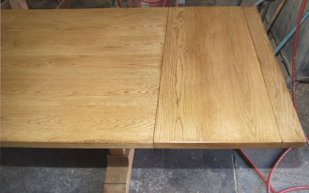 Vintage Oak Expandable Trestle Table 5