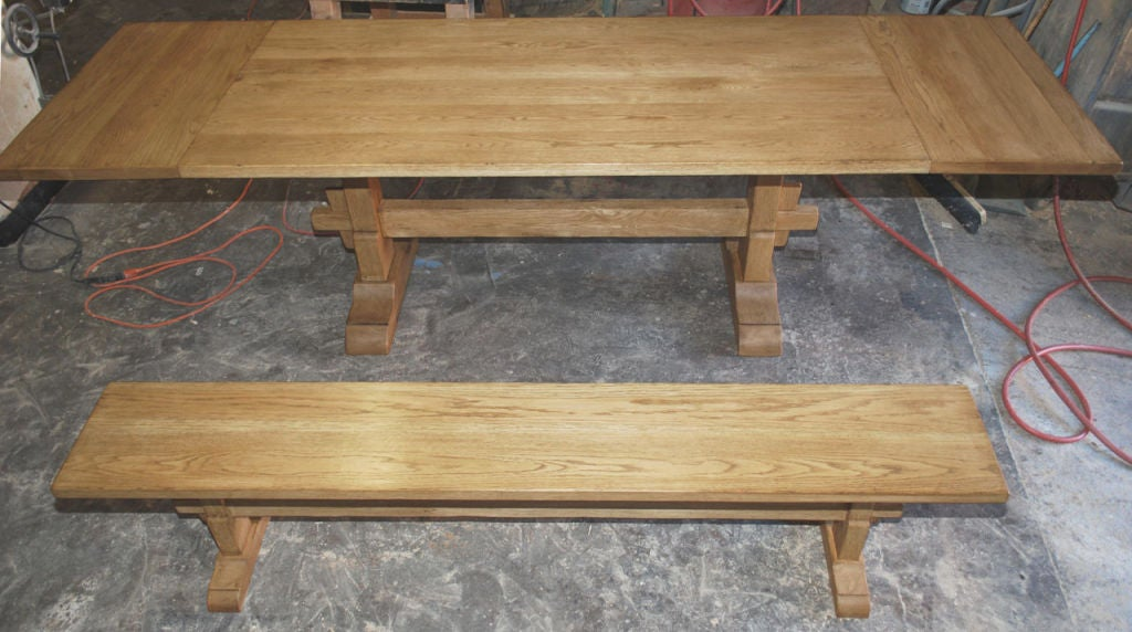Vintage Oak Expandable Trestle Table 6
