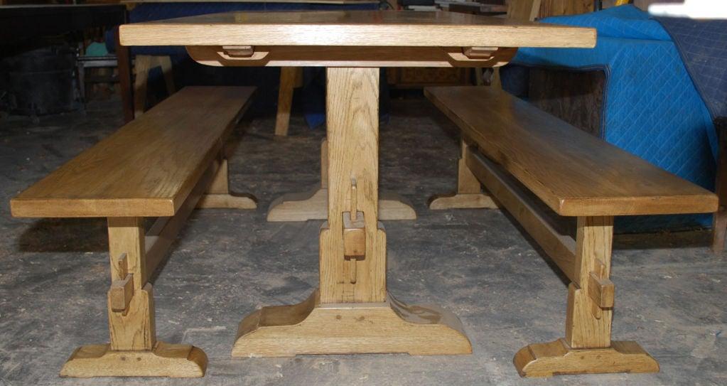 vintage oak expandable trestle table at 1stdibs