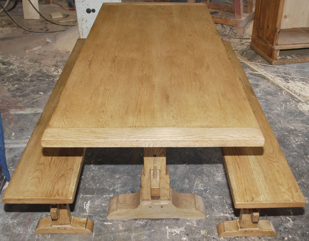 Vintage Oak Expandable Trestle Table 8