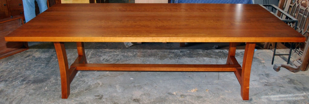 Arts and Crafts Cherrywood Dining Table, Custom Made by Petersen Antiques For Sale