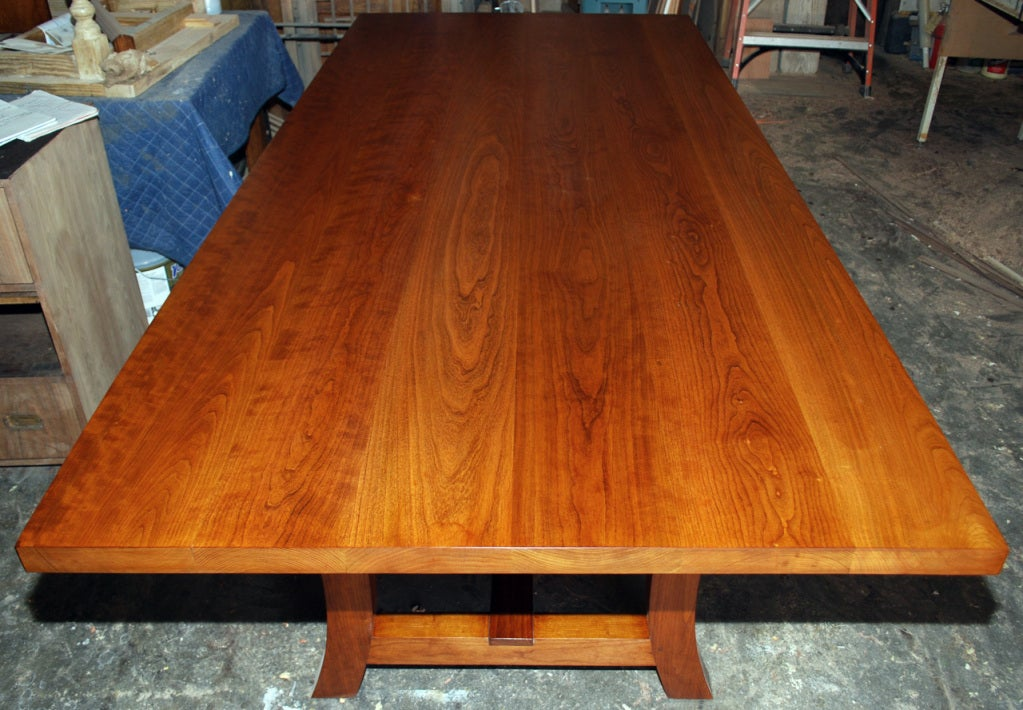 Cherrywood Dining Table, Custom Made by Petersen Antiques In Excellent Condition For Sale In Los Angeles, CA
