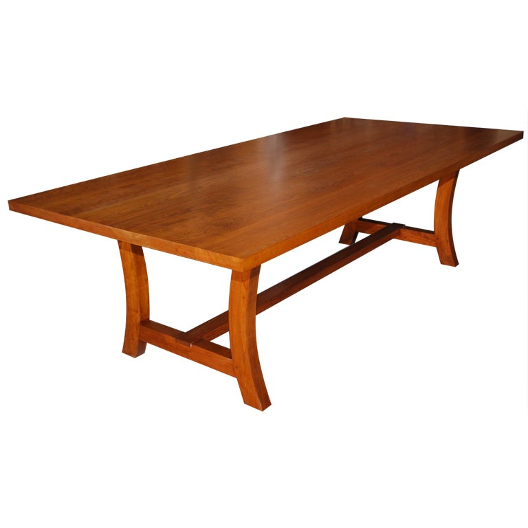 Cherrywood Dining Table, Custom Made by Petersen Antiques For Sale