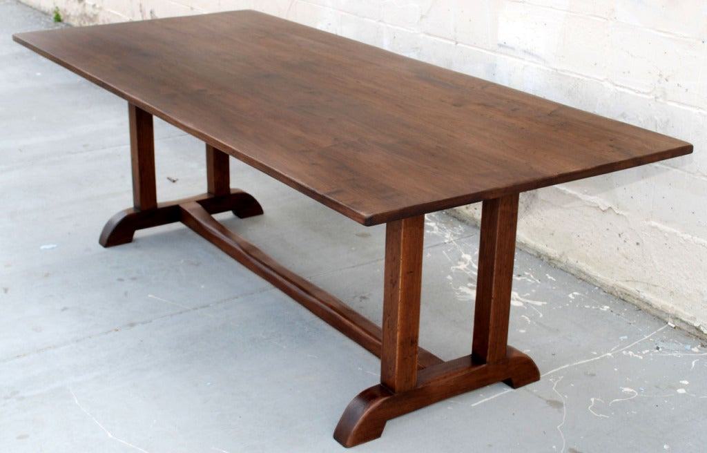 Vintage black walnut custom built dining table at 1stdibs for Built in dining table