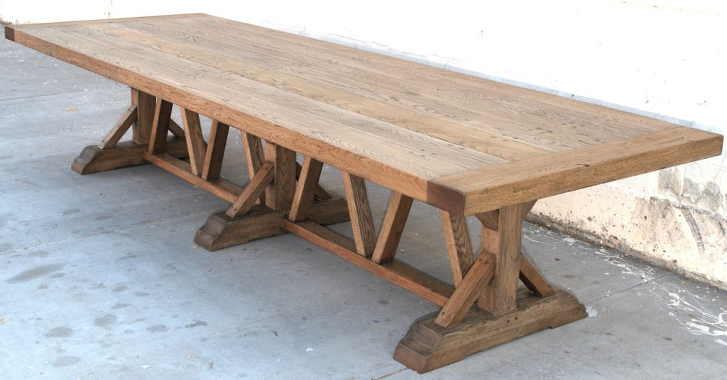 Marvelous Farm Tables For Sale Part - 14: Massive Vintage Oak Farm Table 2