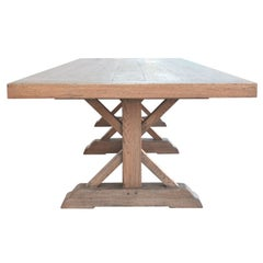 Massive Vintage Oak Farm Table, Custom Made by Petersen Antiques