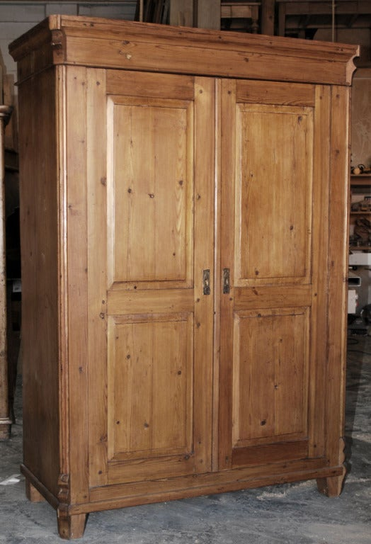 Well Built Armoire With Interior Drawer, Shelves And Hanging Pegs. Has  Working Lock