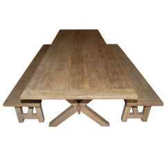 Custom X-Trestle Table with Matching Benches in Vintage Pine
