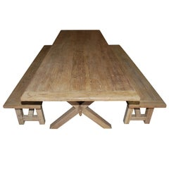 X-Trestle Table with Matching Benches, Custom Made by Petersen Antiques