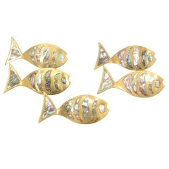 Five Large Abalone Inlaid Fish Pulls