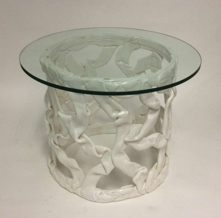 Round resin table with glass top at 1stdibs for 13 inch round glass table top