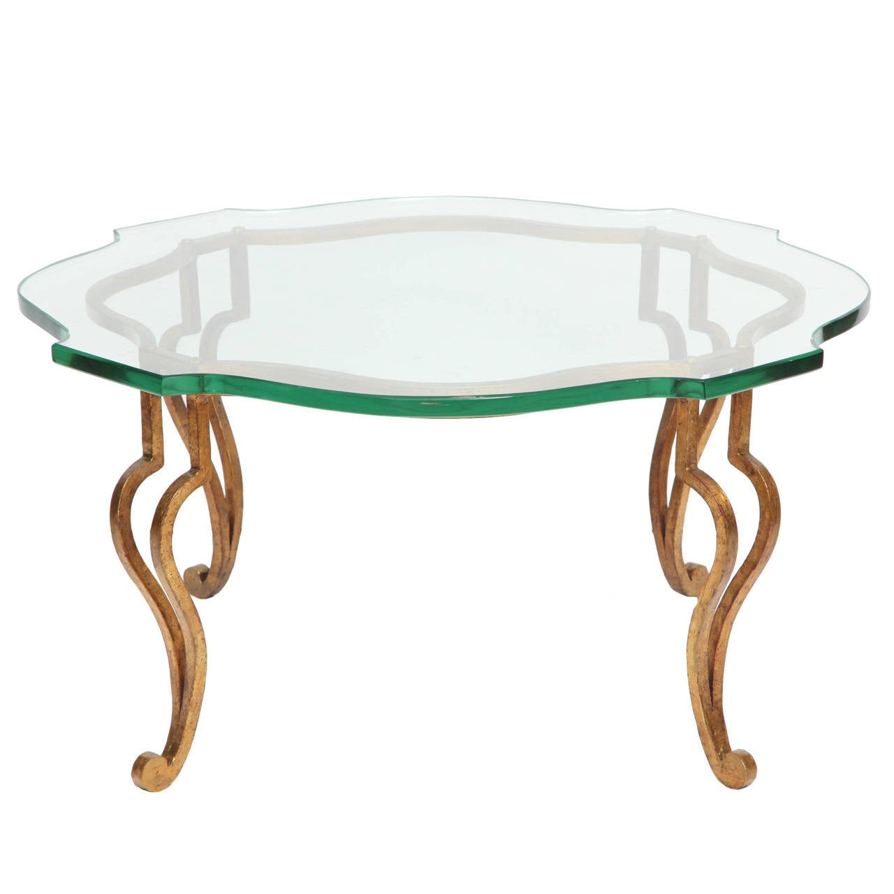 Gilt wrought iron coffee table attributed to maison ramsay at 1stdibs Wrought iron coffee tables