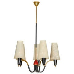 French Mid-Century Five-Arm Chandelier