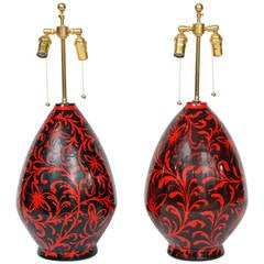 Large Pair of Raymor Ceramic Lamps with Arabesque Motif