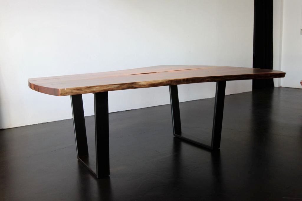 Contemporary Black Walnut Slab Dining Or Conference Table At 1stdibs