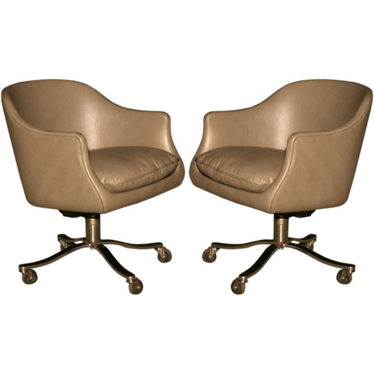 grey leather and stainless steel office chairs nicos