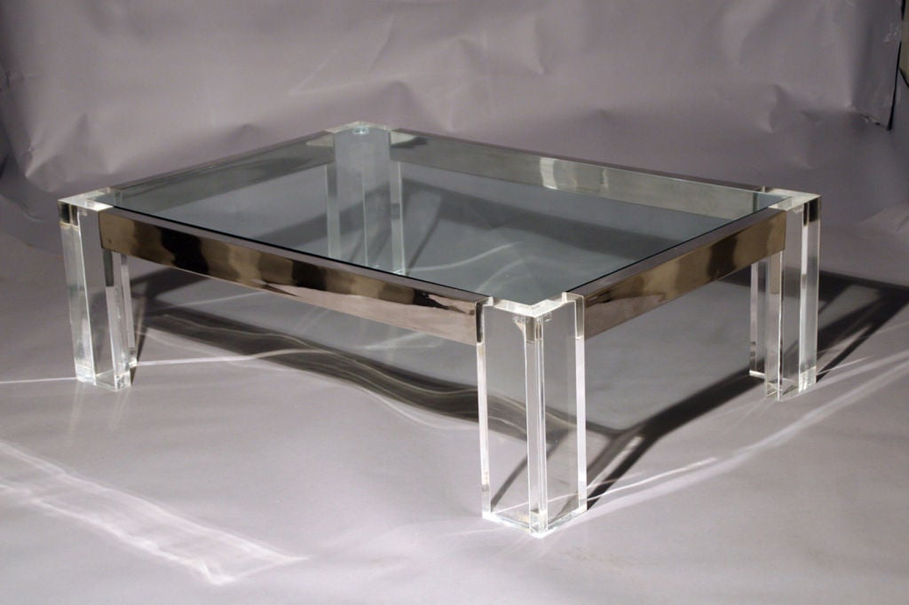 A Rectangular Lucite Chrome And Glass Cocktail Table At 1stdibs