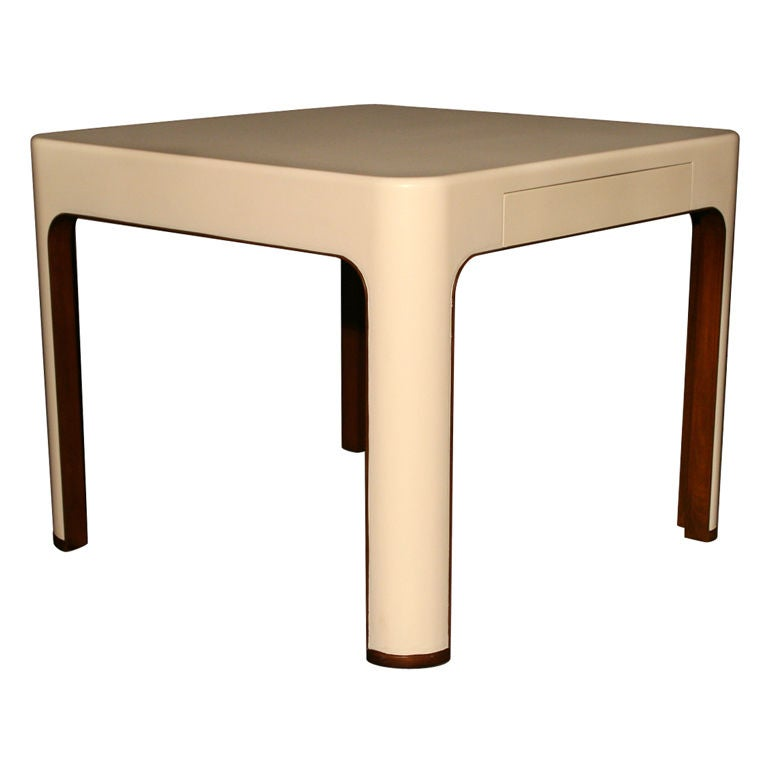 A john dickinson white lacquer and wood dining table at for White lacquer dining table