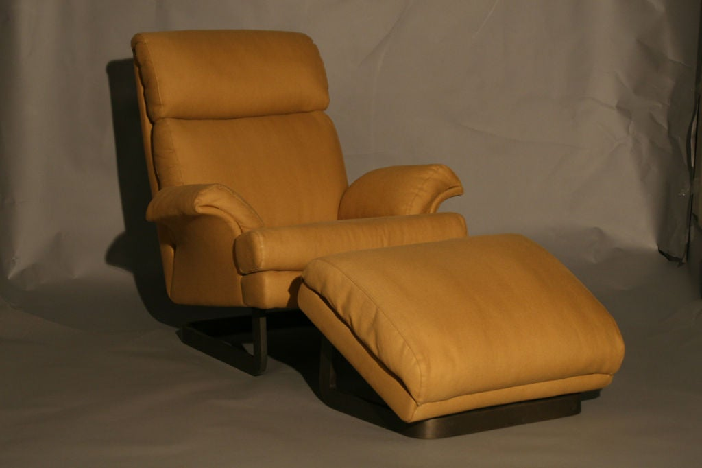 A Comfortable Modern Chair And Ottoman By Metropolitan For