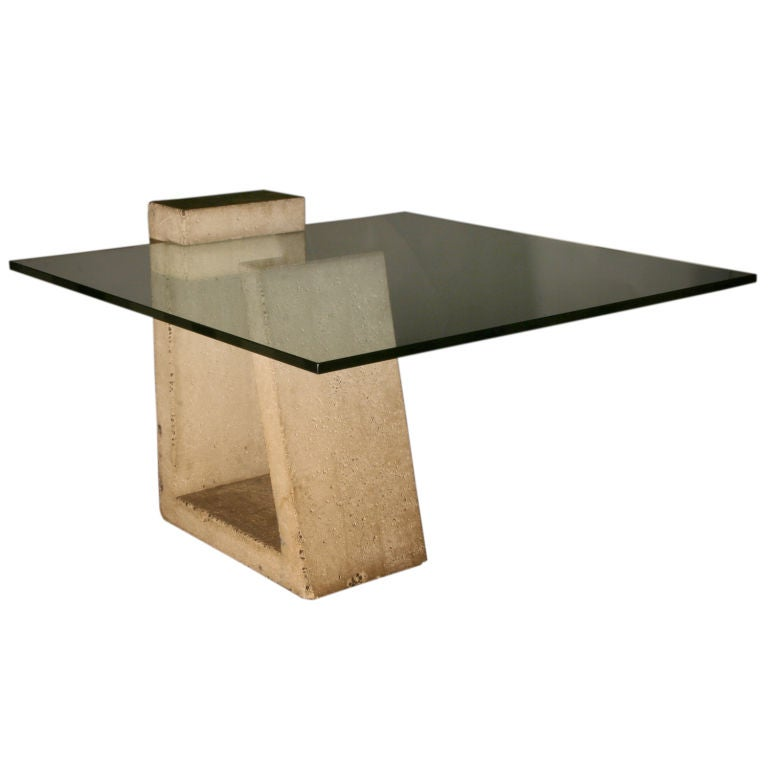 A Rare Concrete And Glass Dining Table By Alwy Visschedyk At 1stdibs