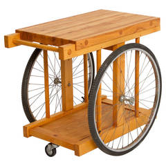 Oak and Bicycle Wheel Butcher Block, Bar Cart by B.W. Sanders