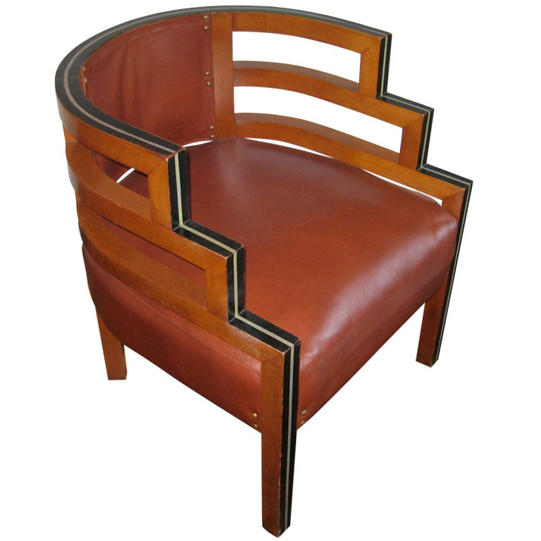 1930s Wood And Leather Upholstered Chair At 1stdibs