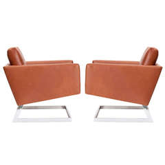 Pair of Cantilevered Modernist Armchairs
