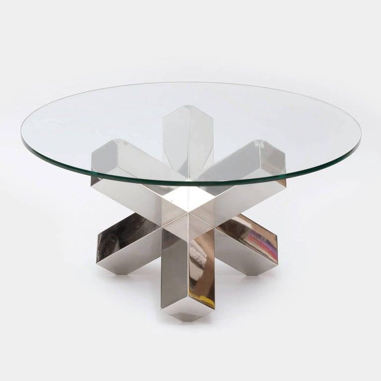 Geometric chrome coffee table at 1stdibs for Geometric coffee table