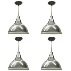 Four Vintage Holophane Glass Ceiling Lights with Nickel Hardware C.1940 American