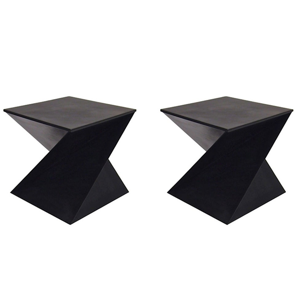 Pair Of Side Or End Tables In Black Enameled Sheet Metal