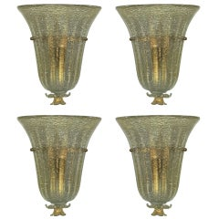 Four Sconces by Barovier Circa 1945 Italy
