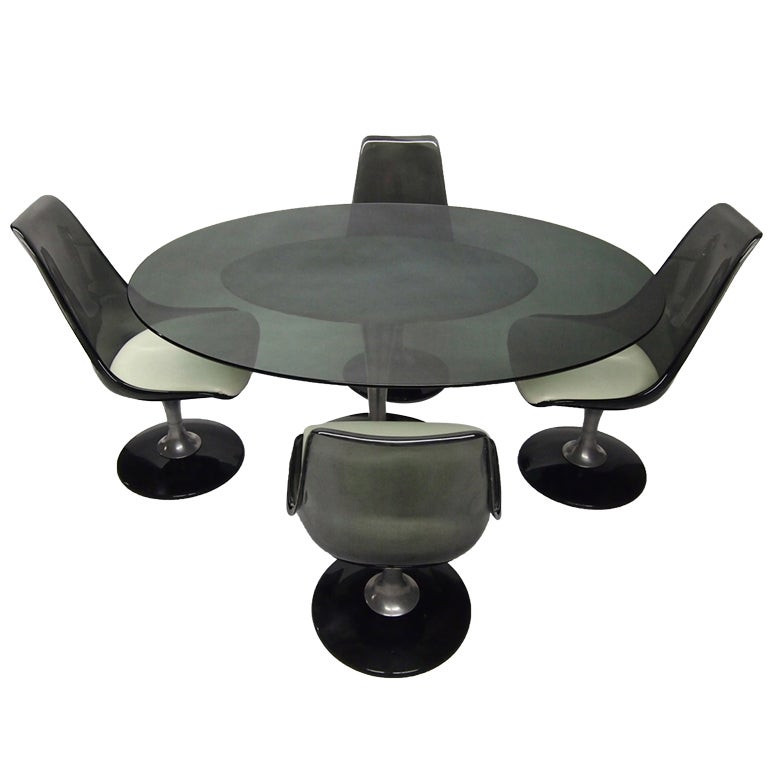 Oval dining set with four swivel chairs by chromcraft for Dining room table with swivel chairs