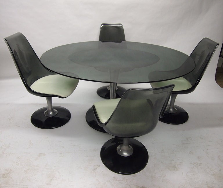 oval dining set with four swivel chairs by chromcraft circa 1970