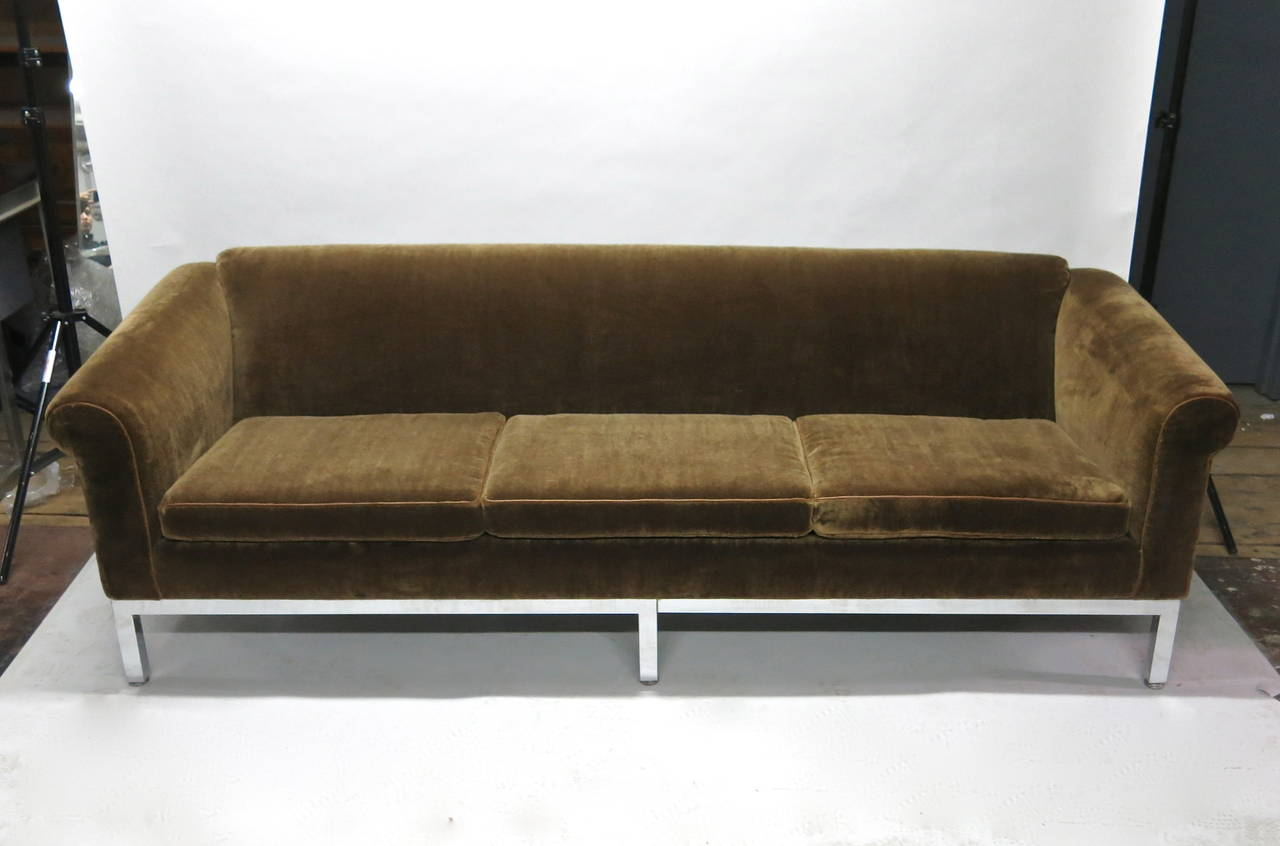 Vintage Sofa Recently Upholstered In Brown Mohair Circa
