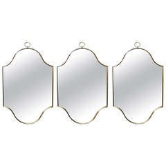 Set Of Three Mirrors With Brass Frames Circa 1960 American