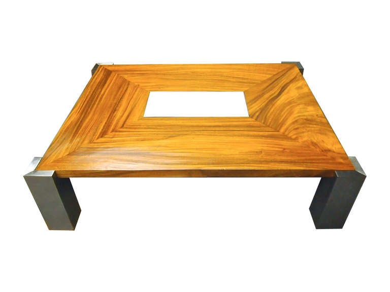 Custom Coffee Table In Solid Wood And Steel Made In 1978