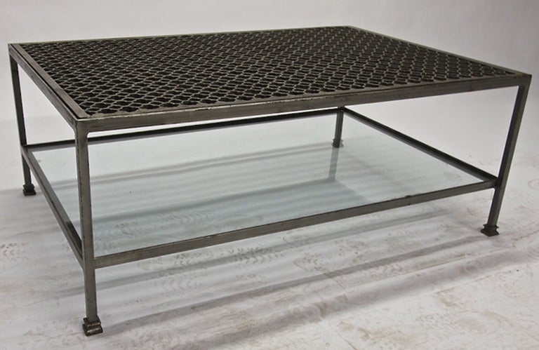 Coffee table in solid steel circa 1980 american at 1stdibs for Heavy glass coffee tables