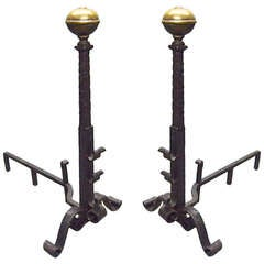 Large Pair of Hand Hammered Andirons Arts and Crafts Circa 1910 American