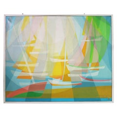 """Painting """"The Sails,"""" Signed and Dated Maurice Pré, 1974 France"""