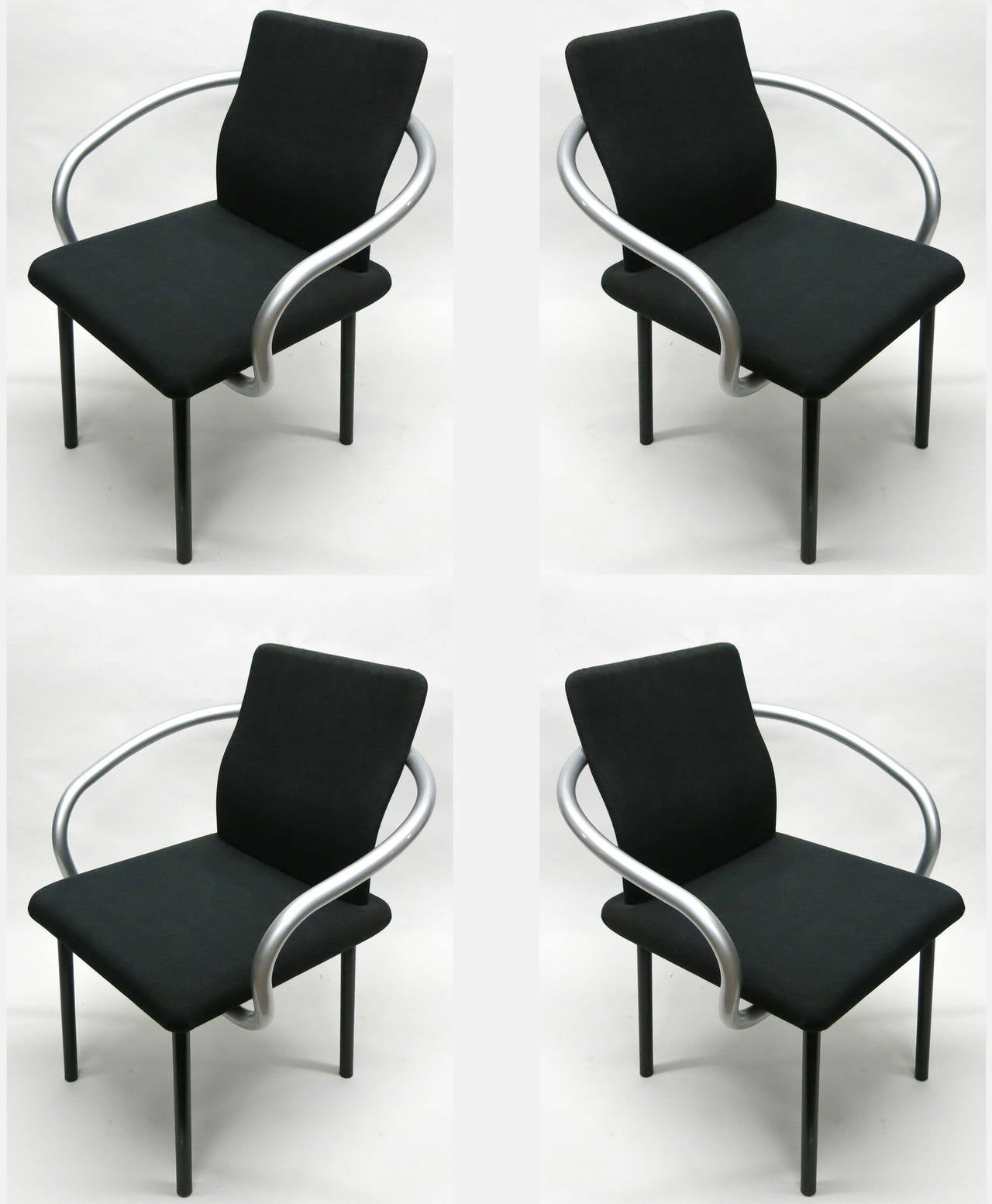 Set of six Mandarin chairs with original black fabric and grey metallic arms each with original labels underneath read Ettore Sottsass for Knoll International,